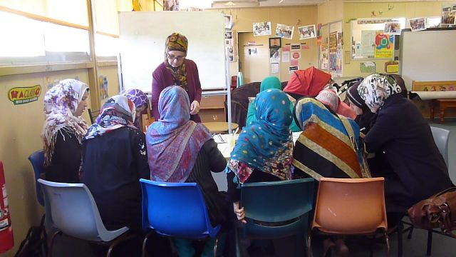 Mothers learning English at Harmony House each Thursday 9.30-11.30am.