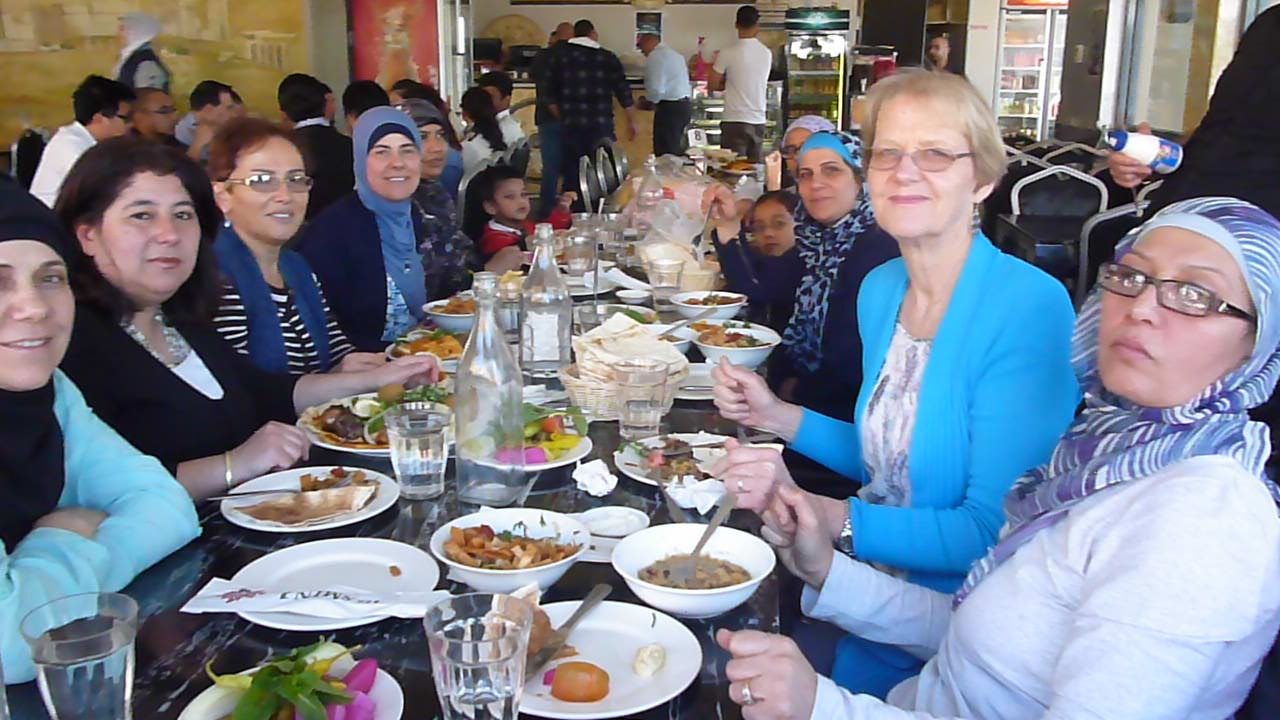 Parents at Yasmin restaurant enjoying Lebanese Cuisine. One mother said it is so wonderful to be together in Auburn eating in a local place.